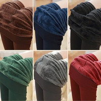 S-XXL Women Popular Autumn Winter Fashion Fleece Warm Leggings Solid Large Elastic Long Pants Female Lady Girl Fitness Pants Thicken Fur Clothing (color: Black, Grey, Navy Blue, Red, Brown, Green) [8270414337]
