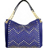 Chevron Gold Tone Studded Rhinestone Handbag Purse w/ Chain Straps Blue