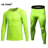 #3930 Sports Training Yoga Running Athletic Gym Men High Elasticity Compression Thermal Tights Pants+ T Shirts Tops Sets S~2XL