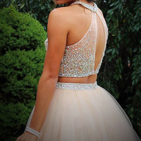 Two Piece Tulle Champagne Prom Dresses Homecoming Dresses ED48