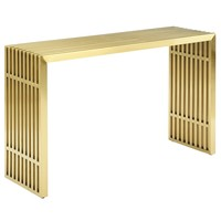 Gridiron Stainless Steel Console Table Gold
