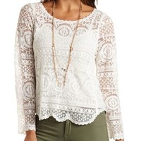 Long Sleeve Embroidered Lace Top by Charlotte Russe - Ivory