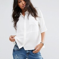 ASOS Boxy Blouse In Crinkle at asos.com