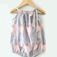 Cute Baby Girls Bowknot Halter Printed Rompers