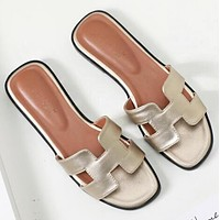 Hermes Classic Hot Sale Women Leather Slipper Sandals Shoes Golden