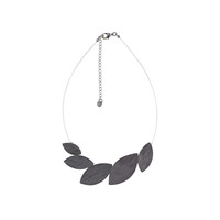 reversible horn leaves necklace-gray