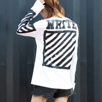 OFF-WHITE Fashion Casual Print Long Sleeve Round Neck Pullover White T-shirt