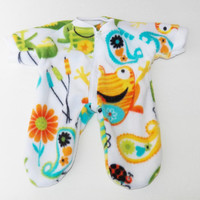 Cabbage Patch Clothes, fits 16 inch boy Kids Twin Doll, 'Noah and the Frogs' - polar fleece pajamas pjs sleeper