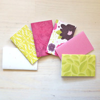 Small Notebook Set: 6 Notebooks, Wedding Favors, Pink, Green, Gift, Party, Kids, Wedding, Favors, Small Notebook, Stamped, Unique, S4-003