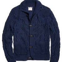 Men's Cable Knit Toggle Button Cardigan