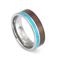 Turquoise Hawaii KOA wood Inlay tungsten Wedding Bands 8mm for man