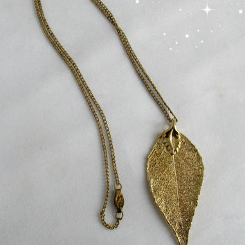 Gold Plated Dipped Laurel Leaf Necklace Nature Environmental Vintage