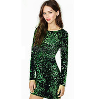 Woman Green Long Sleeve Sequined Bodycon Dress