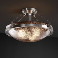 Justice Design Group FSN968135MRORNC Fusion Ring 18-InchThree-Light Brushed Nickel Round Semi-Flush Bowl With Ring