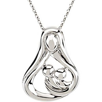 Sterling Silver Inspirational Blessings 2-Child Mother Necklace