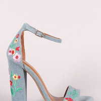 Embroidered Floral Suede Chunky Heel | UrbanOG