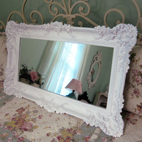 Large White Leaner Mirror - Mantle Mirror - Wall Mirror - Dressing Mirror - Wide Mirror  - Tall Narrow Mirror - Shabby Chic Mirror