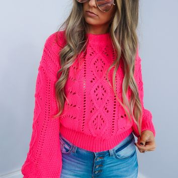 Bright Lights Sweater: Neon Pink