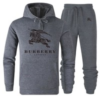 Burberry 2019 new solid color wild men and women sports suit two-piece grey