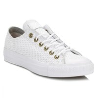 Converse Womens White & Biscuit Chuck Taylor All Star Ox Leather Trainers