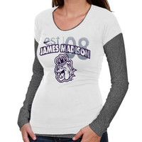 Nike James Madison Dukes Ladies Sunny Day Cross Campus Long Sleeve T-Shirt - White/Gray