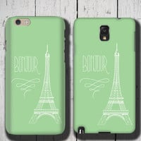 PARIS iPhone 6 Case Eiffel Tower Bonjour, green iPhone 5 case, full wrap phone case, french design iPhone 5C Case Samsung Galaxy case