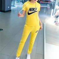 NIKE Fashion Casual Embroidery Stitching Letter Short Sleeve Hooded Set Two-Piece Sportswear