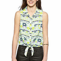 circles and cycles Tie Front Printed Top  - Belk.com