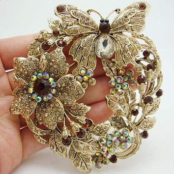 """Free Shipping 3.85"""" Vintage Style Butterfly Flower Brooch Pin Pendant Brown Austrian Crystal Rhinestone"""