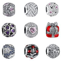 925 sterling-silver-jewelry Crystal European Charm Silver 925 Original Diy Beads for Jewelry Making Fit for Pandora Bracelet