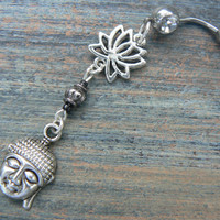 lotus buddha belly ring  black  lotus flower zen yoga  Moroccan boho hipster new age gypsy hippie belly dancer beach and hipster style