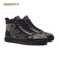 2017 Fashion Unisex Style New Black Leather Casual Golden Rivets Shoes Mens Red High Top Bottom BLace Up Man's Ankle Boots Plus