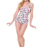 Vintage Inspired 1950s Style Pin-Up White Cherry Swimsuit
