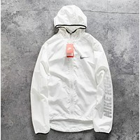 NIKE Fashion New Letter Hook Print Hooded Women Men Long Sleeve Windbreaker Coat White