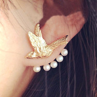 Flying Bird and Pearl Wrapping Ear Cuff (Single, 1 Piercing) - LilyFair Jewelry