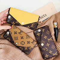 LV Louis Vuitton classic pattern iPhone8plus mobile phone case card protector F-OF-SJK
