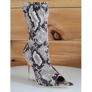 """Mac J Snake Stretch Pull On Ankle Sock Boot 3.75"""" Clear Acrylic Wedge  7-11"""