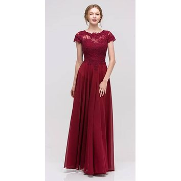 CLEARANCE - Burgundy Short Sleeves Applique Bodice A-Line Long Formal Dress (Size 2XL)