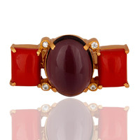 Handmade Red Coral And Hydro Amethyst Gold Vermeil Ring With CZ