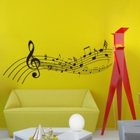 Vinyl Wall Decals Note Notes Waves Musical Sign Treble Clef Decal Sticker Home Decor Art Mural Z662