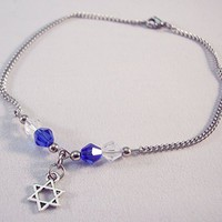 Star of David Crystal Charm Anklet Blue and White
