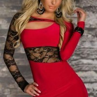 Red Bodycon Dress With Lace Trim