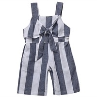 Summer Sleeveless Romper Girls Kid Baby Bow-knot Strip Jumpsuit Clothes born Outfits