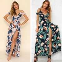 Fashion Flower Print V-Neck Strapless Short Sleeve Strap Split Maxi Dress