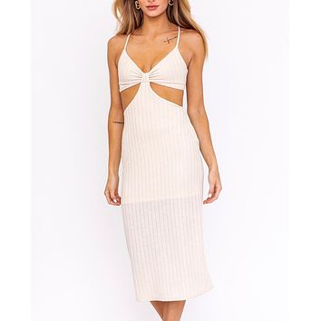 Sunset Passion Side Cut Out Midi Dress in Cream