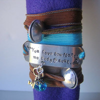 Hand Stamped - Hand Dyed Silk Ribbon Bracelet - Pride & Prejudice You have bewitched me body and soul