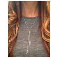 Beautiful Dainty Dual Feather Drop Silver Necklace
