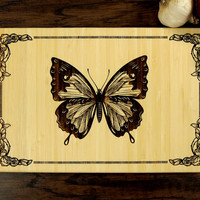 Personalized Wedding Gift, Custom Engraved Wood Cutting Board, Butterfly Design, Wood Anniversary Gift, Housewarming Gift, Hostess Gift