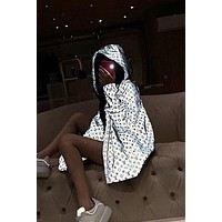 LV 2019 new gradient reflective waterproof full printed logo couple models hooded casual jacket