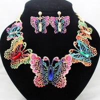 Elegant fashion gold colorful brand butterfly jewelry sets party african wedding necklaces earrings sets for women free shipping